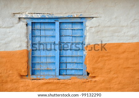 Old window of old cottage in Nepal - stock photo