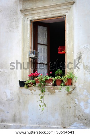 Old window on an Italian house