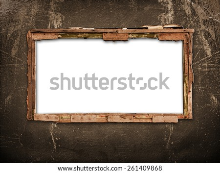 Old window on the antique wall with metal nail - stock photo