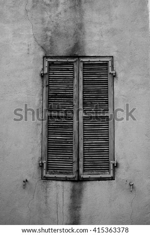 old window shutter - stock photo