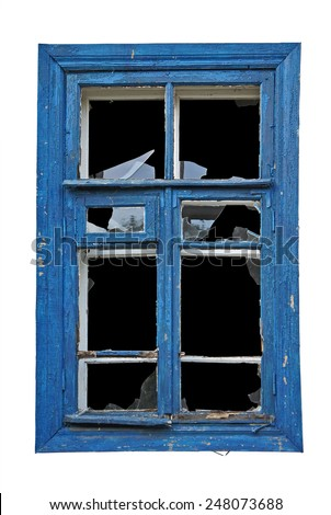 Old window with broken glass - stock photo