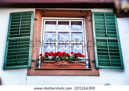 Old window with shutters. Traditional German house - stock photo