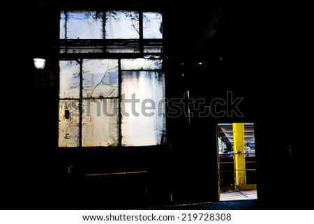 Old windows in factory. - stock photo