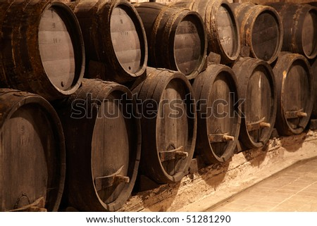 Old wine cask in winery cellar