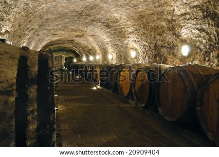 Old wine cellar with barrels and path - stock photo