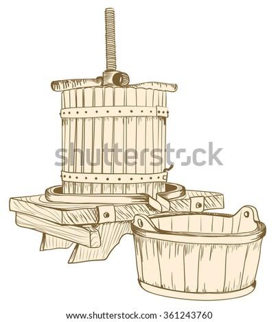 old wine press illustration. raster - stock photo