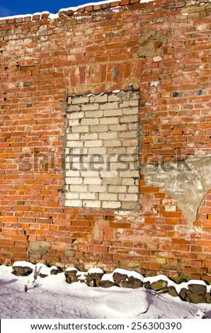 old winter time house ruins wall background - stock photo