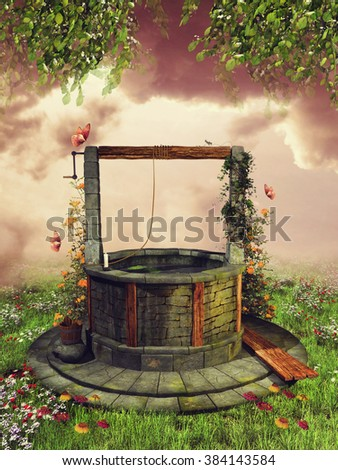 Old wishing well with spring flowers and butterflies on a green meadow - stock photo