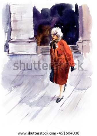 Old woman crosses the road. Watercolor hand drawn illustration. - stock photo