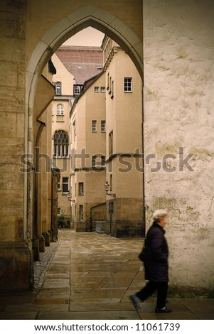 old woman in chemnitz - stock photo