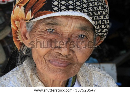 Old woman in Yogyakarta in Indonesia, September 28, 2014