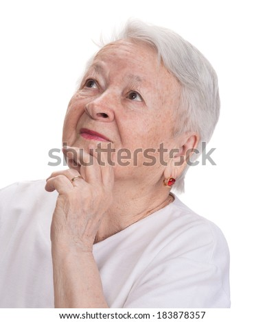 Old woman looking up on a white background
