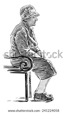 old woman on a park bench