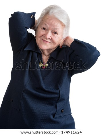 Old woman on a white background - stock photo