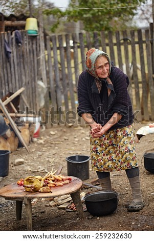 Old woman preparing a free range chicken outdoor - stock photo
