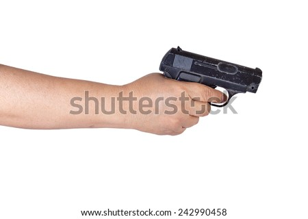 Old Woman's hand with a gun Isolated - stock photo