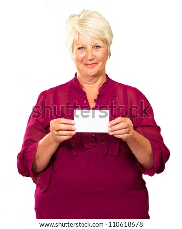 Old Woman Showing  Paper On White Background - stock photo