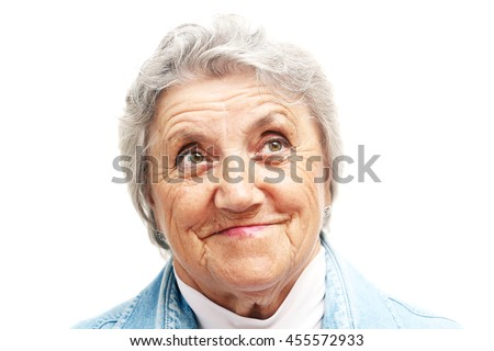 Old woman smile face. Grandmother