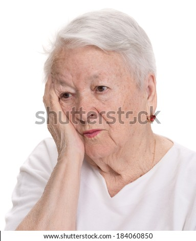 Old  woman suffering from pain on a white background