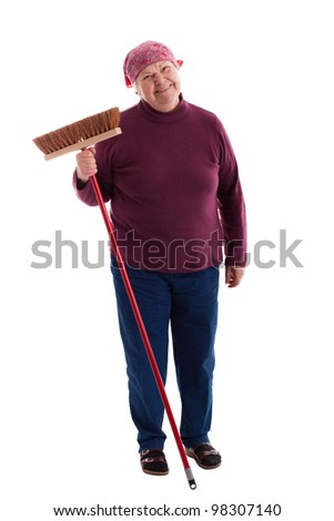 old woman sweeps the floor - stock photo