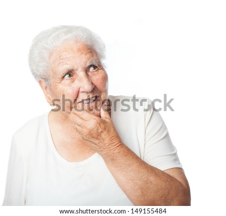 old woman thinking on a white background - stock photo