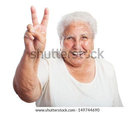 old woman victory symbol on a white background - stock photo