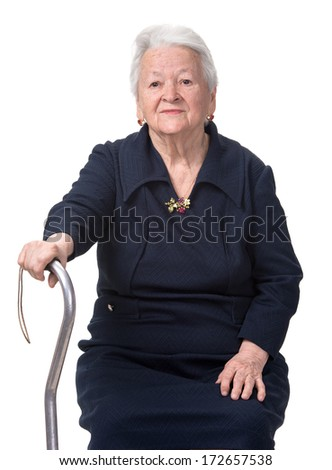Old woman with a cane on a whitebackground