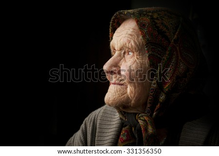 old woman with a lot of wrinkles. portrait.
