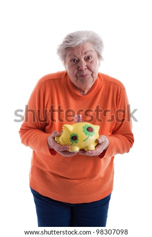 Old woman with a savings box