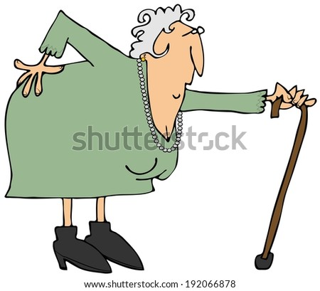 Old woman with a sore back - stock photo