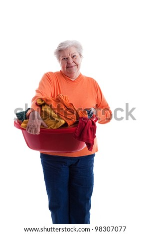 old woman with colored clothes