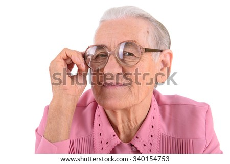 old woman with glasses. portrait isolated on white background