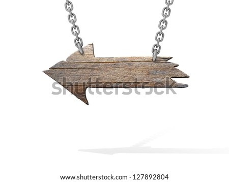 Old wood arrow sign isolated on white - stock photo