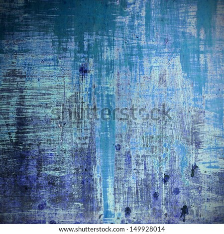 Old wood background in blue color - stock photo
