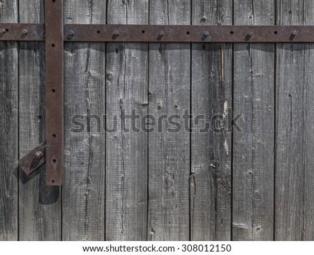 Old wood background texture. Vintage  door and metal - stock photo