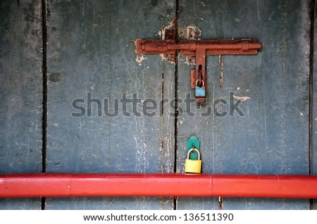 old wood background with lock - stock photo
