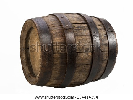 old wood barrel on isolated background - stock photo