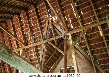 Old Wood Beam Ceiling built in a traditional way