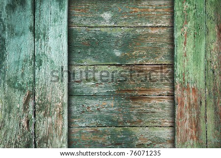 old wood boards, green vintage background - stock photo