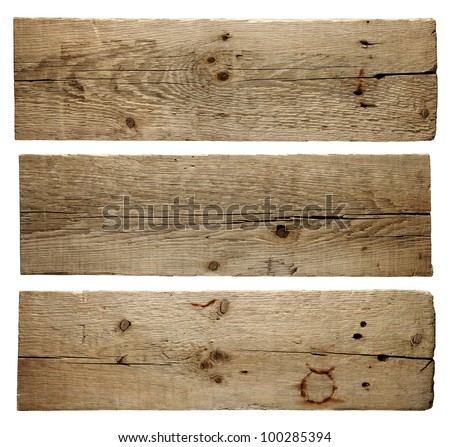 Old wood boards isolated on white background - stock photo