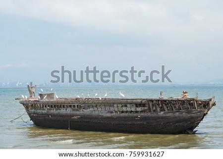 Old Wood Boat At Sea Vintage Color