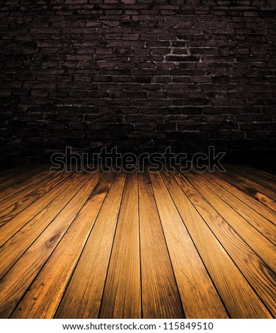 Old wood brown room interior - stock photo
