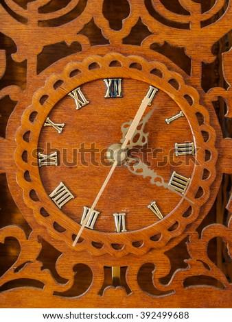 old wood clock - stock photo