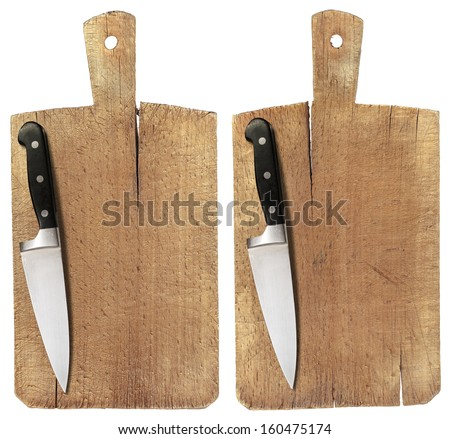 Old Wood Cutting Board and Knife / Used chopping or cutting board isolated on withe and kitchen knife  - stock photo