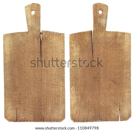 Old Wood Cutting Board Used chopping or cutting board isolated on withe - stock photo