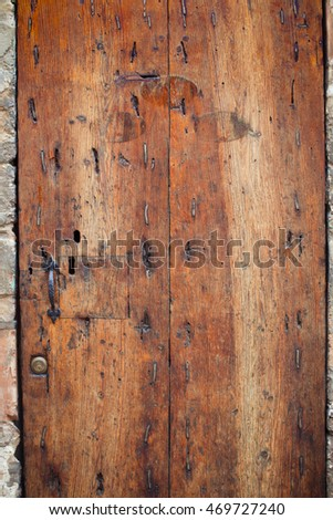 Old wood door background.