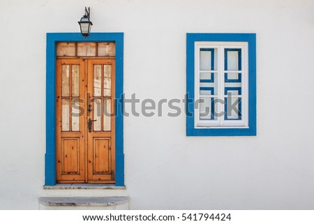 Old wood door with windows. Portugal Windows.