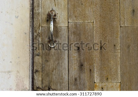 Old Wood Doors and Handle - stock photo