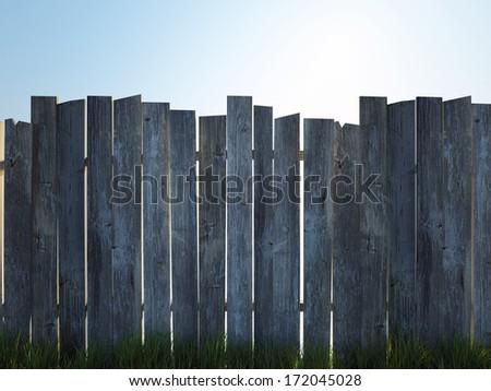old wood fence - stock photo