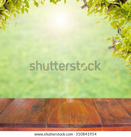 old wood floor on flower and leaves frame  background - stock photo